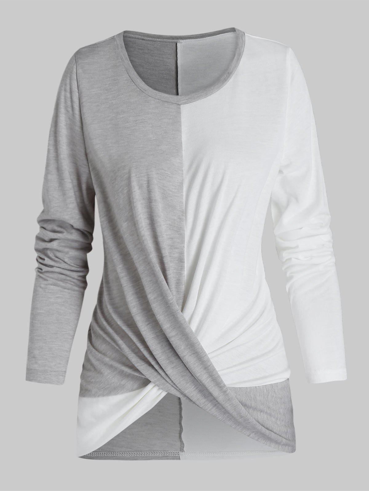 Hot Twist Front Long Sleeve Contrast T-shirt