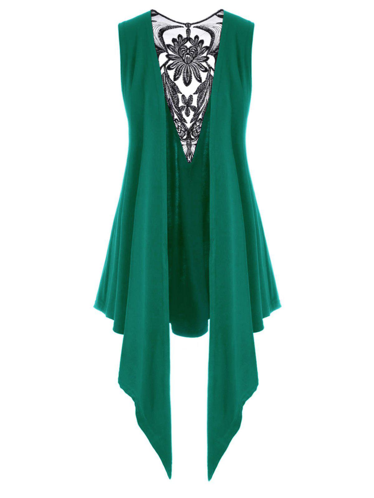 Affordable Mesh Panel Open Front Embroidered Plus Size Top