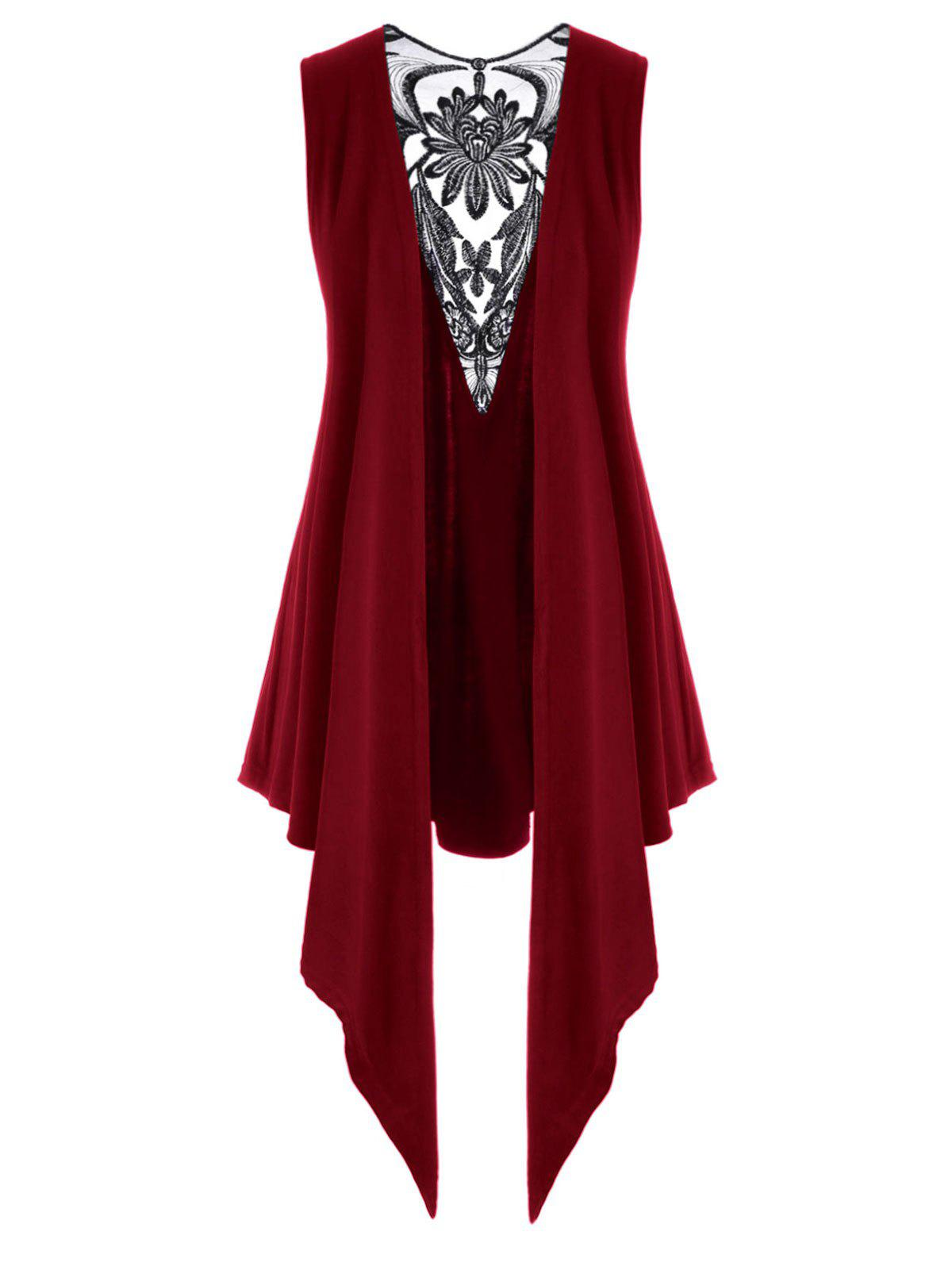 Latest Mesh Panel Open Front Embroidered Plus Size Top