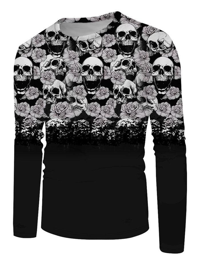 Fancy Halloween Flowers Skull Print Long Sleeve T-shirt