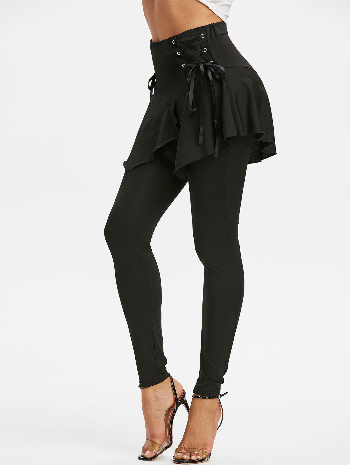 Unique Lace Up Elastic Waist Asymmetrical Skirted Leggings