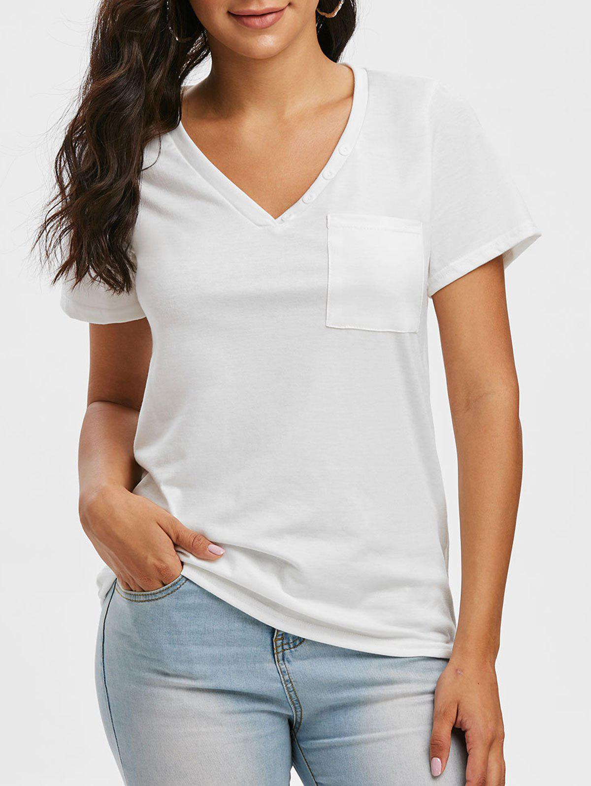 Outfit V Neck Button Pocket Short Sleeve T Shirt