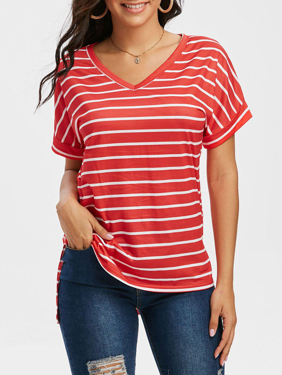 Outfit V Neck Striped High Low T Shirt