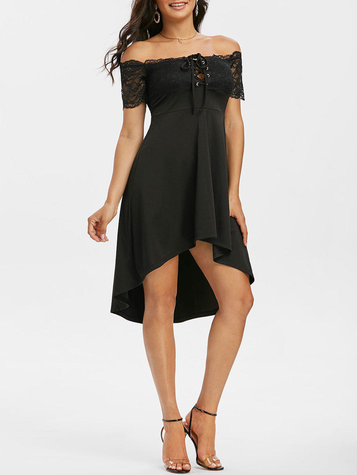 Sale Off The Shoulder Lace Insert Lace-up High Low Dress
