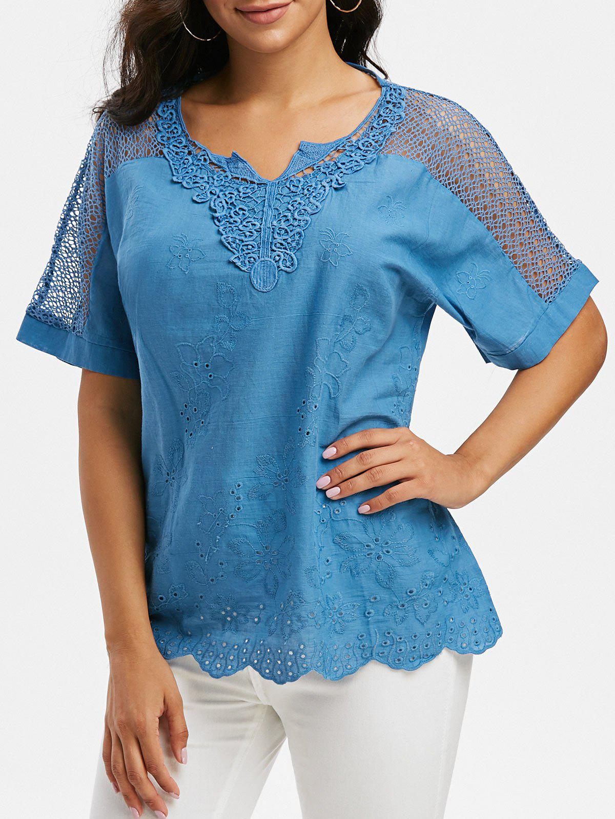 Discount Notched Collar Crochet Lace Panel Short Sleeve Blouse