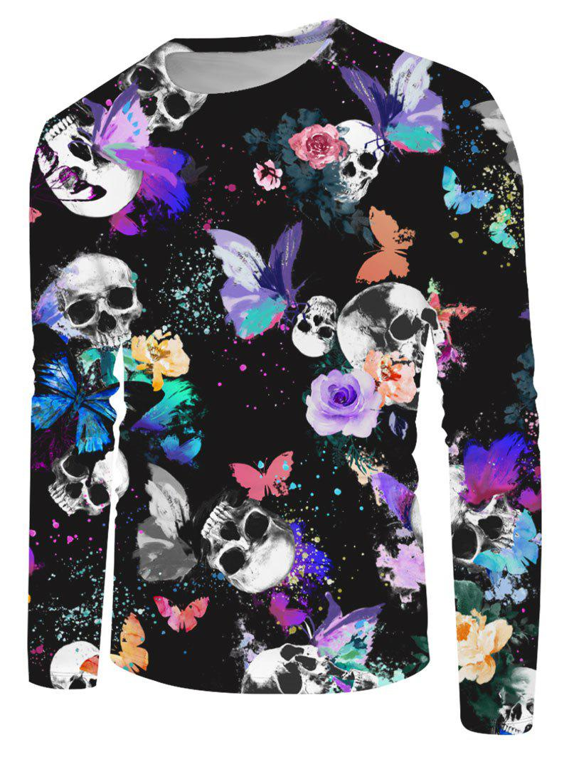Trendy Halloween Skull Butterfly Print Long Sleeve T-shirt