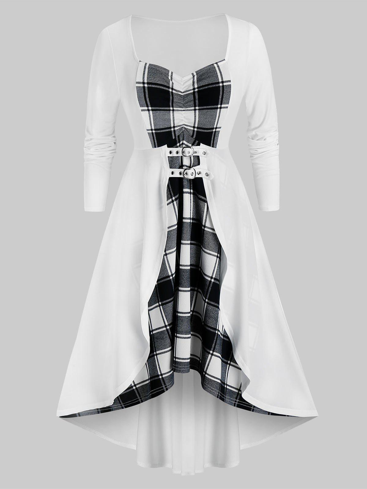 Outfits Plus Size Plaid High Low Dress