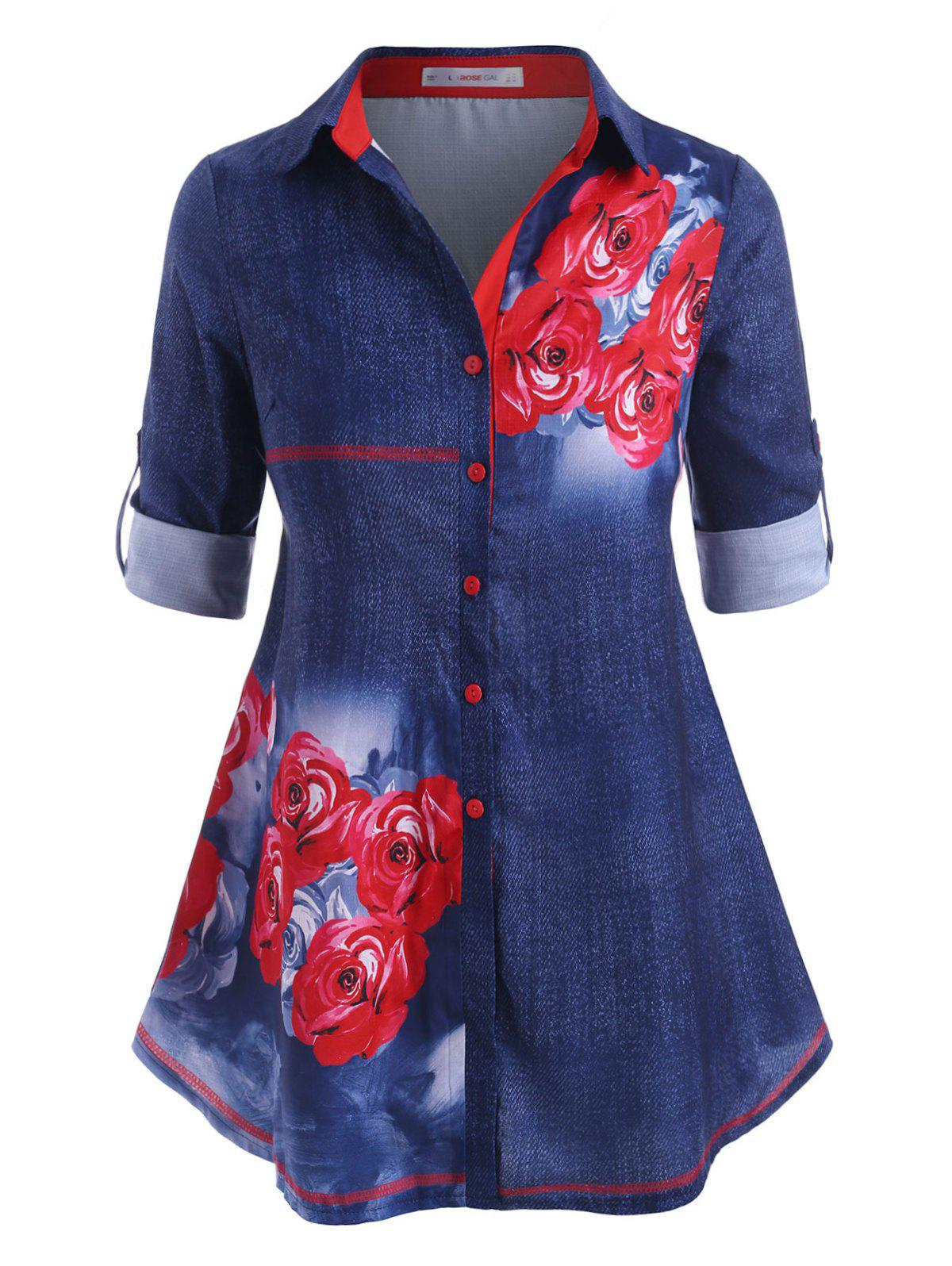 Online Rose Button Up Tab Sleeve Plus Size Shirt