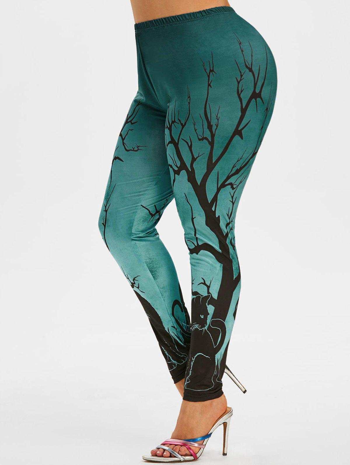 Shop Halloween Black Cat Tree Print Plus Size Leggings