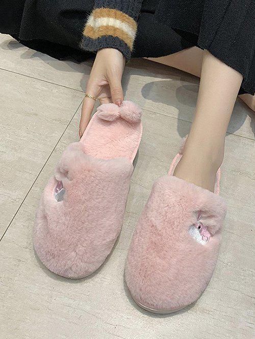 Outfits Whale Embroidery Fluffy Indoor Slippers