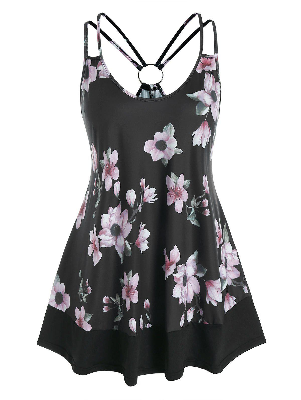 Cheap Plus Size O Ring Floral Print Strappy Tank Top