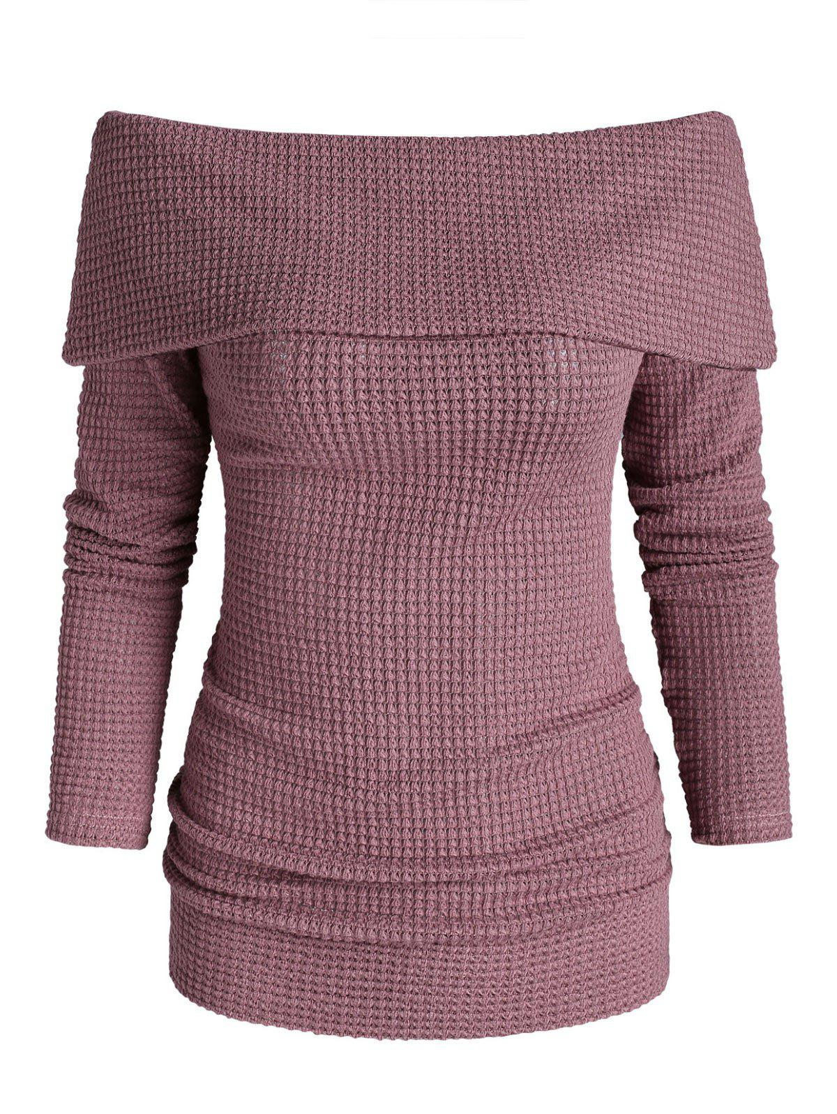 Unique Off Shoulder Foldover Knitted Sweater