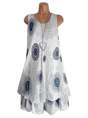 Scoop Neck Printed Layered Trapeze Dress
