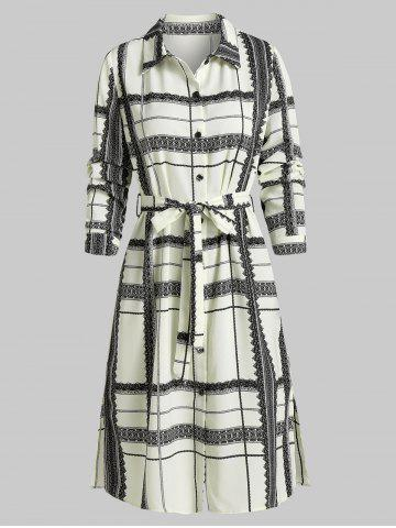 Plaid Print Side Slit Shirt Dress
