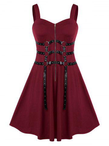 Plus Size Solid Zippered Fit And Flare Vintage Dress - DEEP RED - L