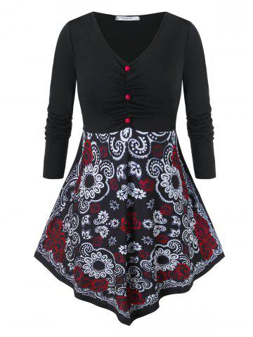 Plus Size Floral Print Ruched Skirted T Shirt - BLACK - L