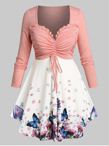 Plus Size Butterfly Floral Ruched Bust Cinched Frilled Tunic Tee - LIGHT PINK - 2X