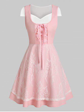 Lace Up Layered Lace Two Piece A Line Dress
