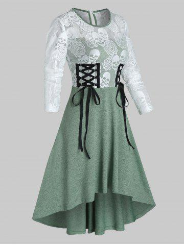 Halloween Skull Lace Insert High Low Lace-up Dress - SEA GREEN - L