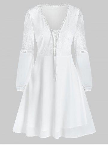 Lace Up Plunging Neck Embroidery A Line Dress