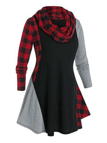 Plus Size Plaid Contrast Curved Hem Tee with A Scarf