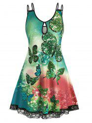 Plus Size Butterfly Tie Dye Keyhole Lace Panel Tank Dress -