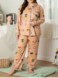 Plus Size Piping Cartoon Print Front Pocket PJ Set -