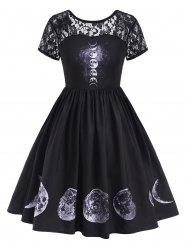 Lace Panel V-back Moon Print Halloween Plus Size Dress -