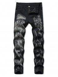 Halloween Skull Print Zipper Fly Tapered Jeans -