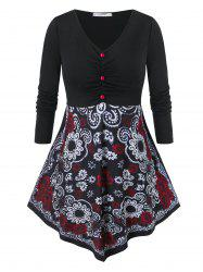 Plus Size Floral Print Ruched Skirted T Shirt -