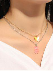 Bear Butterfly Pendant Chain Necklaces Set -
