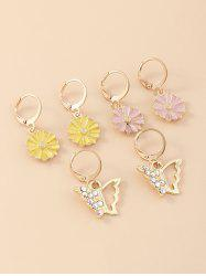 3 Pair Floral Butterfly Clip Earrings Set -