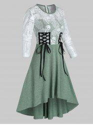 Halloween Skull Lace Insert High Low Lace-up Dress -