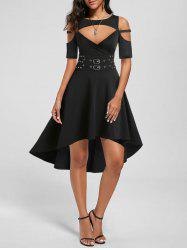 Cold Shoulder High Low Cut Out Gothic Dress -