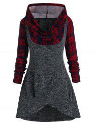 Plus Size Plaid Hooded Cowl Front Overlap Knitted Sweater -