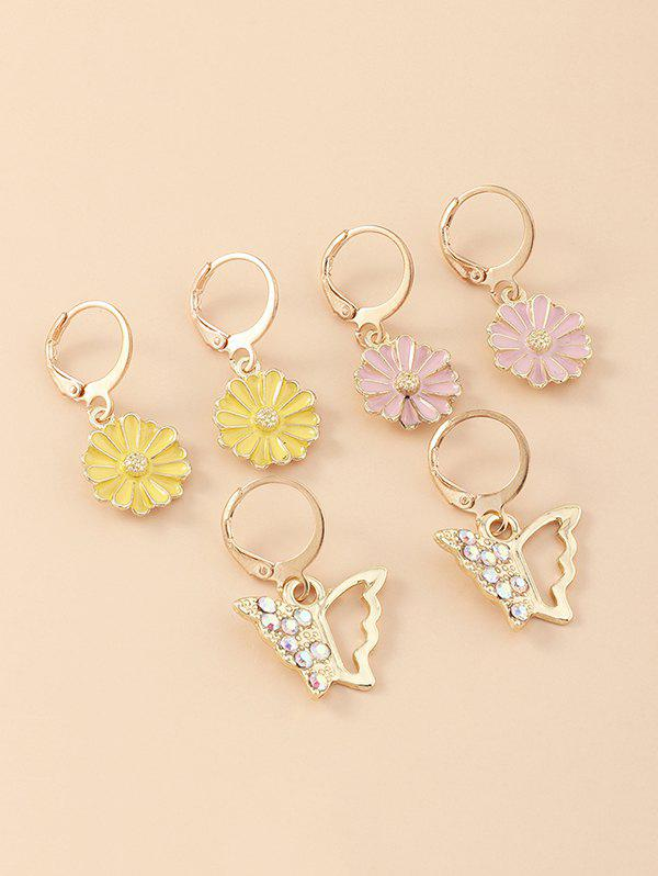 Best 3 Pair Floral Butterfly Clip Earrings Set