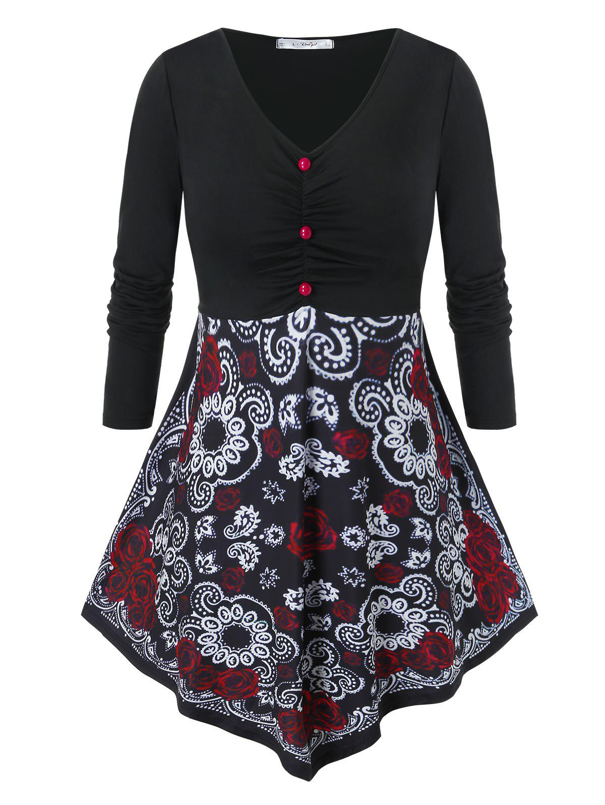 Trendy Plus Size Floral Print Ruched Skirted T Shirt