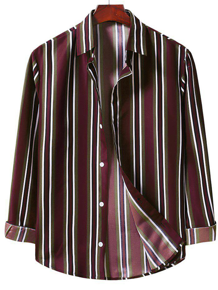 Outfits Casual Vertical Stripe Button Up Shirt
