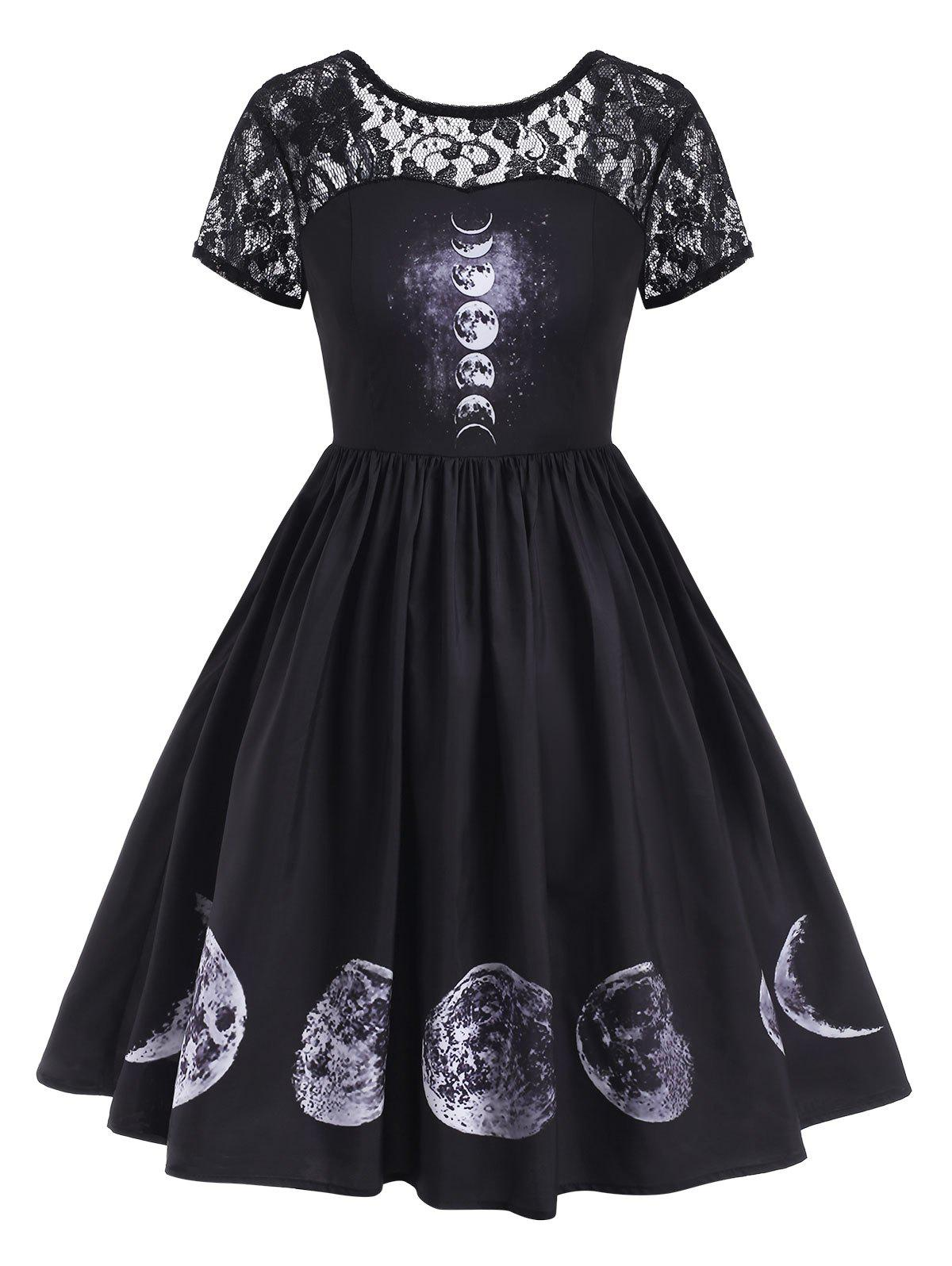 Buy Lace Panel V-back Moon Print Halloween Plus Size Dress