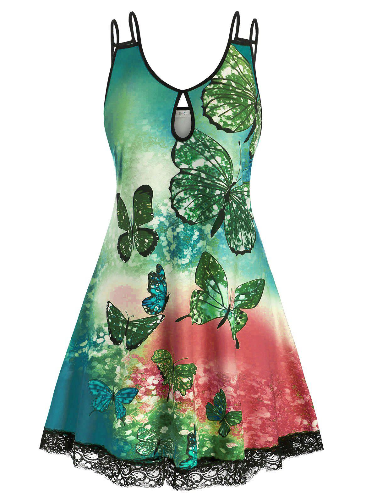 Affordable Plus Size Butterfly Tie Dye Keyhole Lace Panel Tank Dress