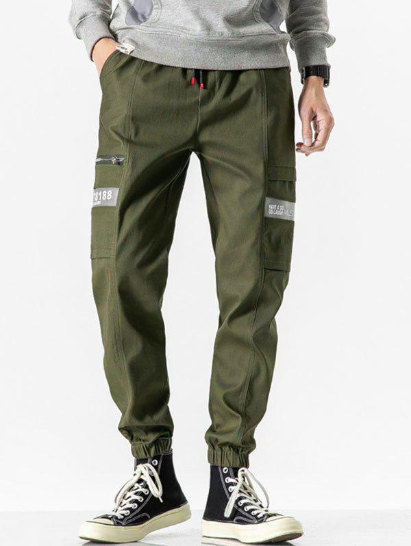 Latest Letter Print Drawstring Casual Cargo Pants