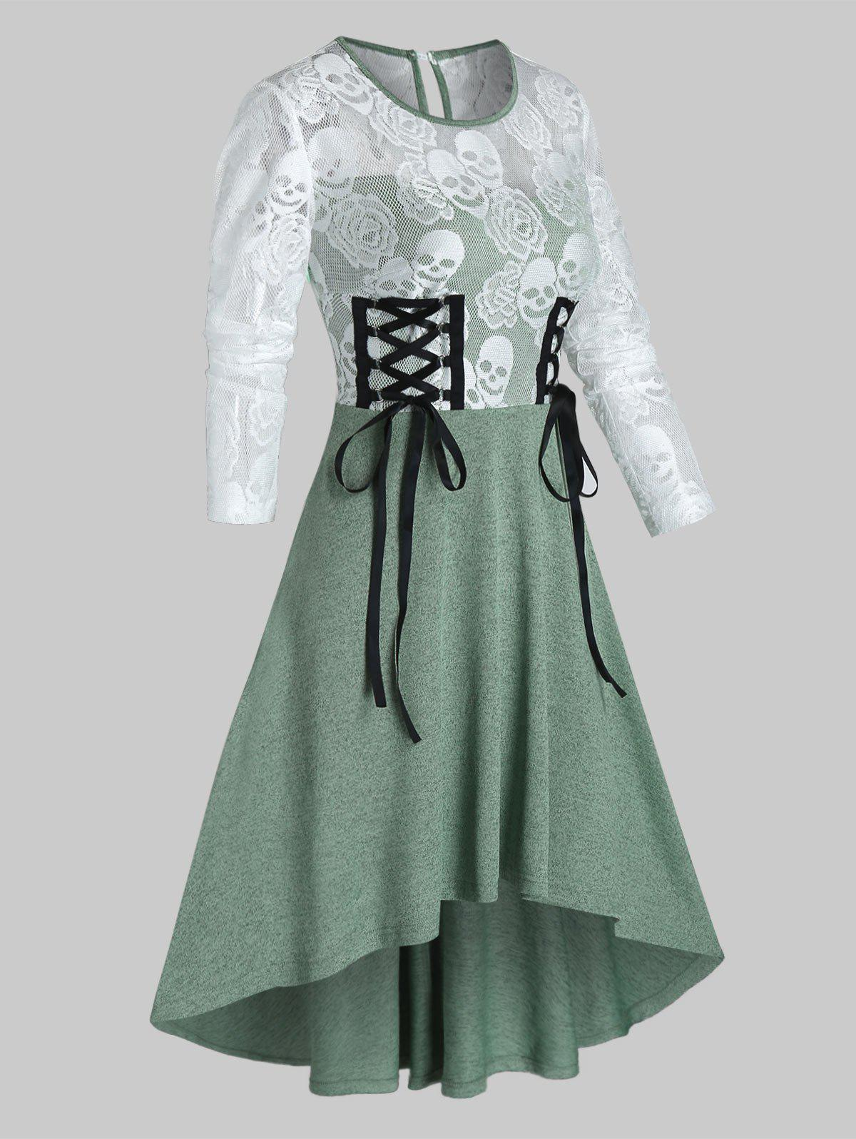 Discount Halloween Skull Lace Insert High Low Lace-up Dress