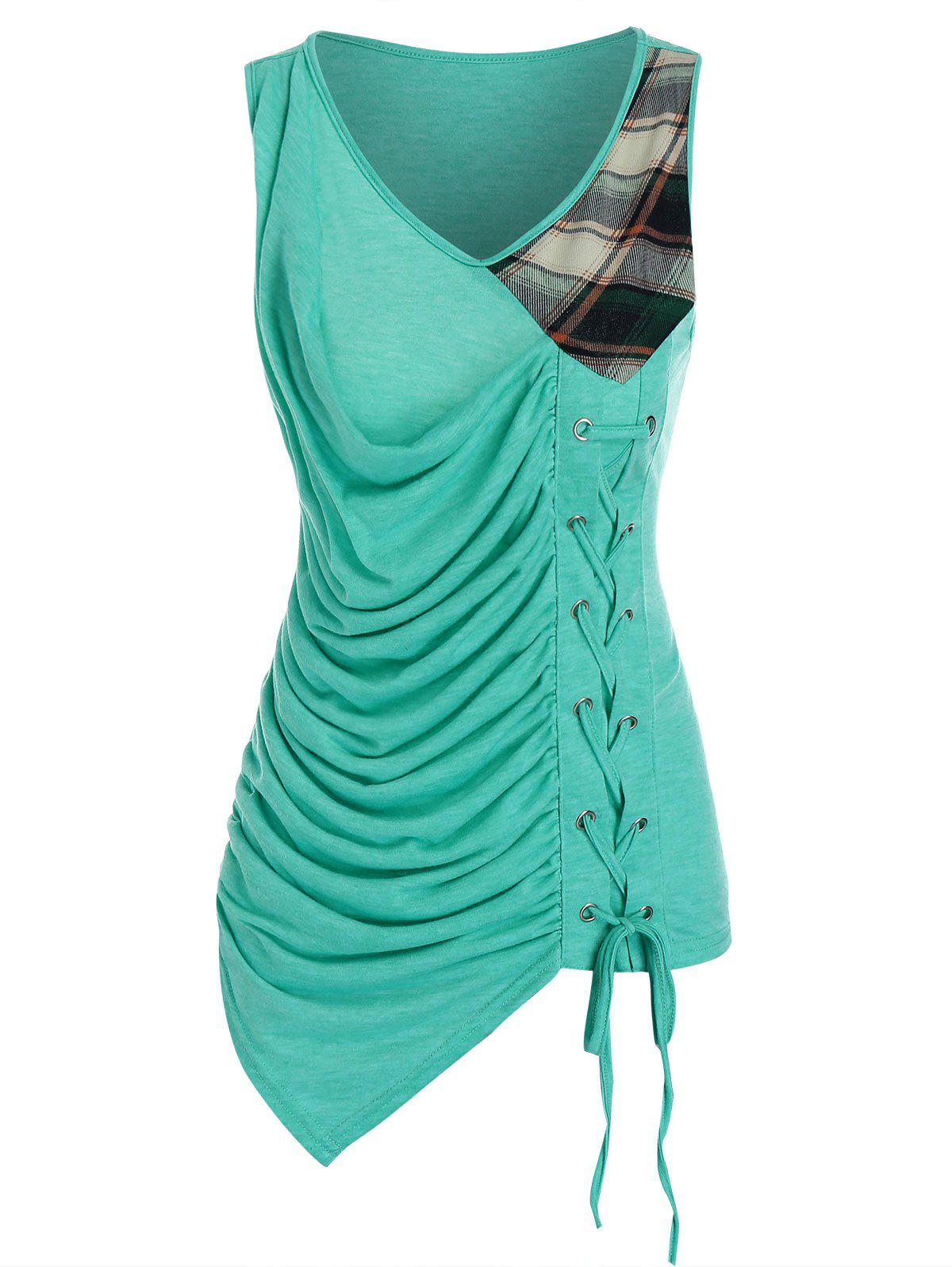 Outfit V Neck Ruched Lace Up Asymmetrical Tank Top