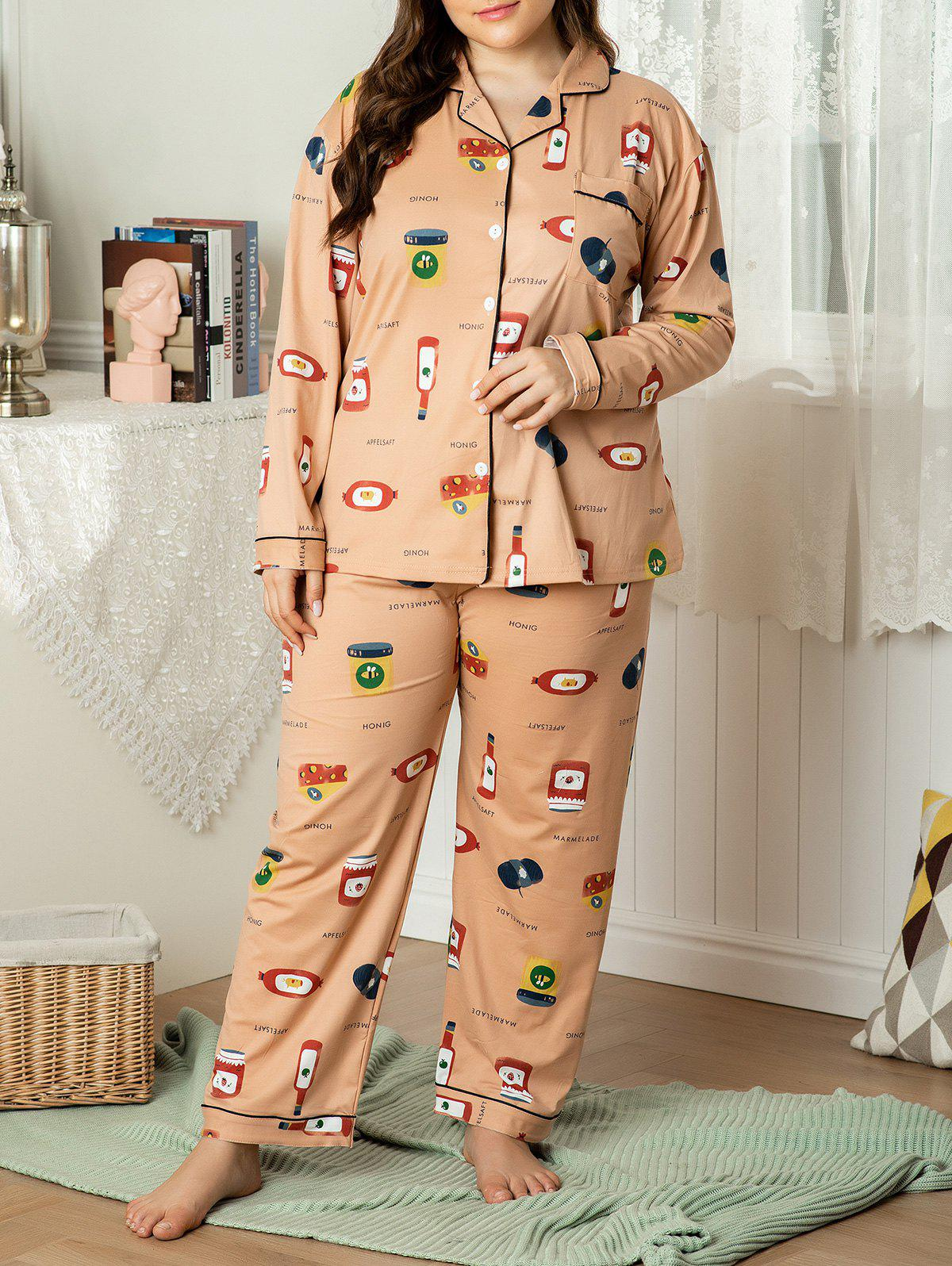 Buy Plus Size Piping Cartoon Print Front Pocket PJ Set