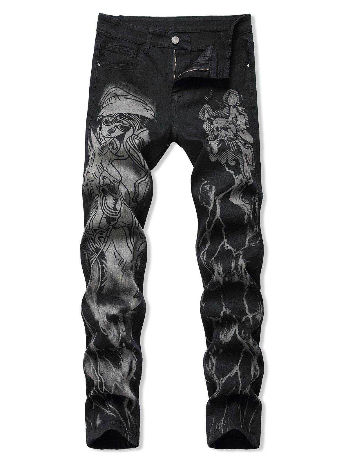 Trendy Halloween Skull Print Zipper Fly Tapered Jeans