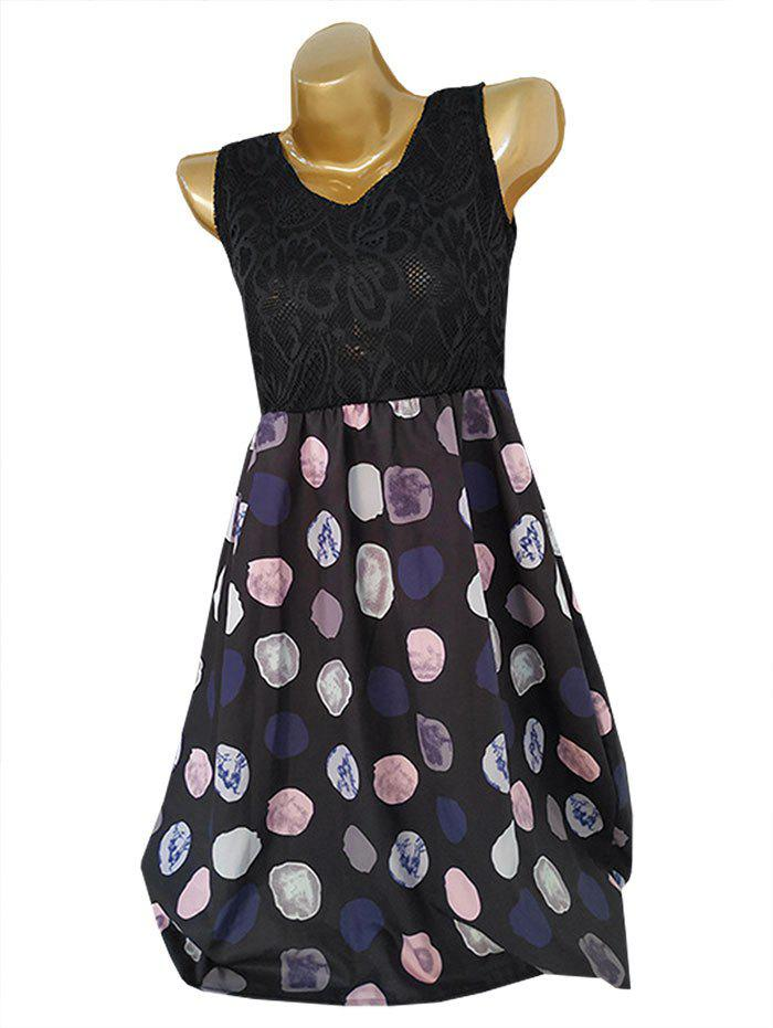 Outfits Lace Bodice Sleeveless Printed A Line Dress
