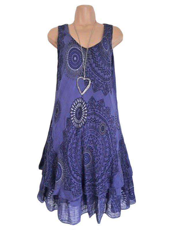 Fancy Scoop Neck Printed Layered Trapeze Dress