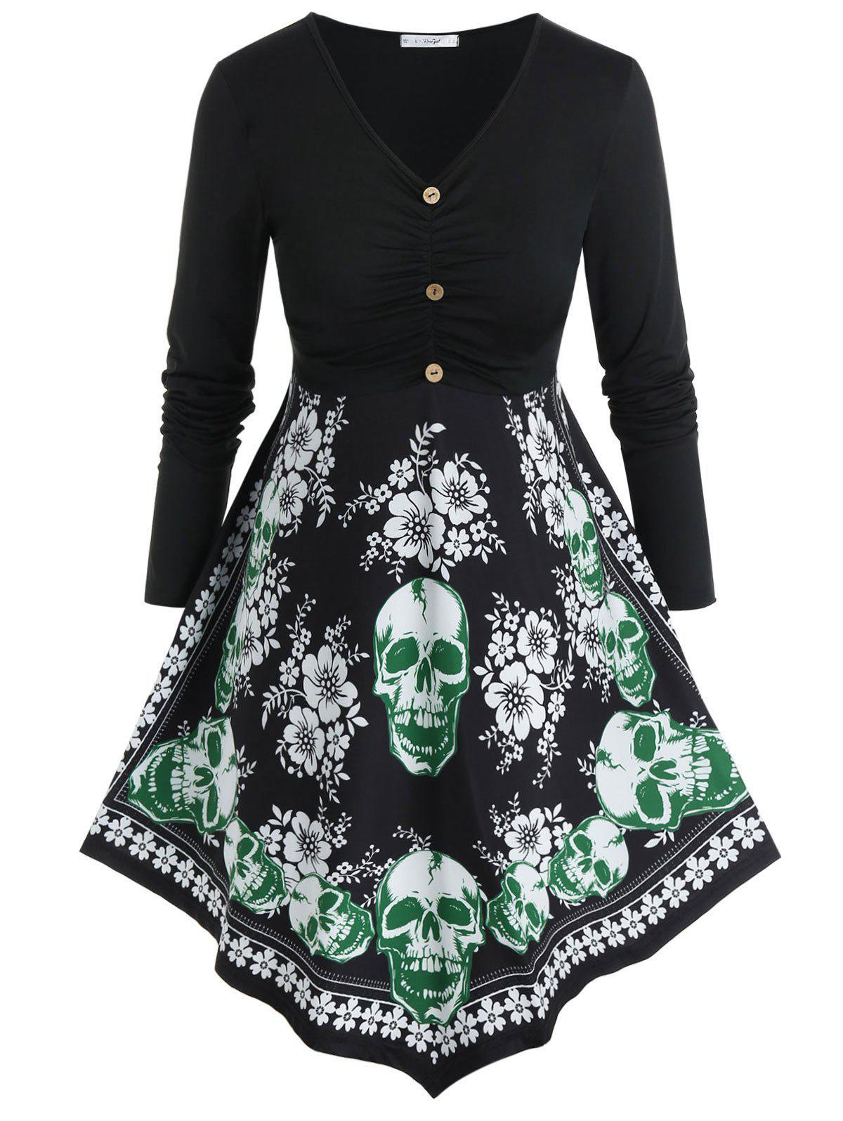 Outfits Plus Size Halloween Floral Skull Print T Shirt