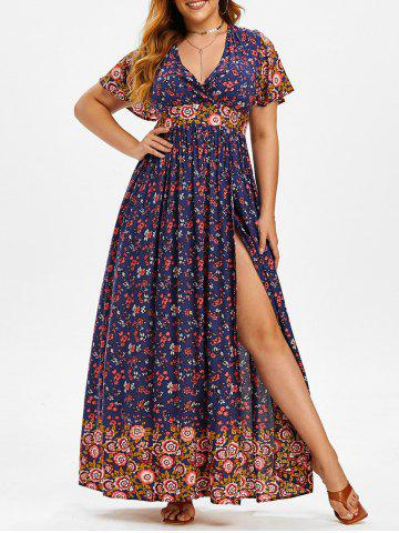 Plus Size Ditsy Print High Slit Maxi  Dress - DEEP BLUE - 1X