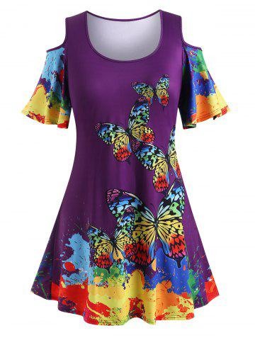 Plus Size Rainbow Color Butterfly Print Cold Shoulder T Shirt - CONCORD - L